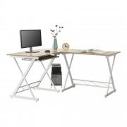 [en.casa]® Mesa Escritorio de esquina Trondheim - Escritorio de ordenador - 75 x 150 x 138 cm - con Soporte Teclado - Soporte para Computadora - PC - Mesa de oficina - Blanco y Color roble