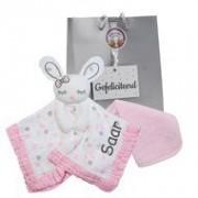 Lulujo Baby cadeau knuffeldoekje Lulujo Pink Bunny met naam