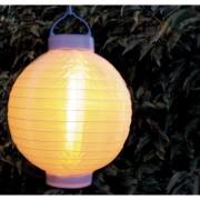 Merkloos 6x stuks luxe solar lampion/lampionnen wit met realistisch vlameffect 20 cm