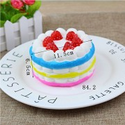 Ocamo Lovely Simulation Cakes Squishy Slow Rising Toys Soft Squeeze Relief Stress Scented Gifts Tricolor Rainbow Cake