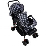 Soft Comfortable Shockproof Black Twin Stroller Pram with Rain Cover