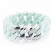 The Rubz Natural Silicone 20mm Unisex Bracelet Mint & Brushed Silver