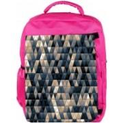 Snoogg Eco Friendly Canvas Small Triangle Pattern Design Designer Backpack Rucksack School Travel Unisex Casual Canvas Bag Bookbag Satchel 5 L Backpack(Pink)