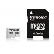 Micro SD Card, 16GB, Transcend, UHS-I U1, 1xAdapter, Class 10 (TS16GUSD300S-A)