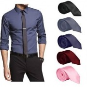 Set of 5 Slim Satin Tie for Men - Formal Party Wear Birthday Gifts.(Colour Black Grey Navy Blue Maroon Pink )