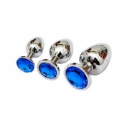 Butt Plug Stainless Steel Small Size Dildo Anal De Metal-Azul