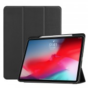 Tri-fold Leather Stand Smart Case with Pen Slot for iPad Pro 11-inch (2018) - Black