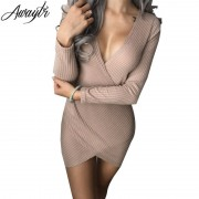Awaytr 2018 Winter Autumn Stretch Casual Deep V-neck Dress Women Party Knitted Dresses Cut Out Sexy Club Bandage Bodycon Dress