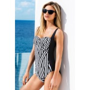 Womens Quayside Ruched Swimsuit - Black Stripe