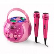 Auna SingSing Sistema de karaoke portátil LED Funcionamiento a pila 2 x micrófonos (CS13-SingSing PK)