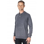 Ugholin Pull col polo cachemire homme 100% gris