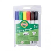 Set 6 markere textile permanente - 2.5 mm