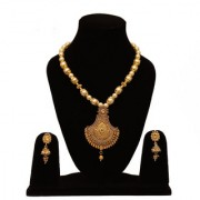 Mannat Collection Multicolour Gold Plated Antique Traditional Moti Mala and Pendant Necklace Set for Women and Girls