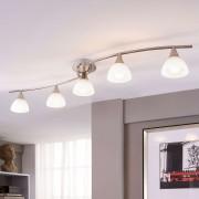 Lampenwelt.com Plafonnier LED à 5 lampes Della, nickel mat - LAMPENWELT.com