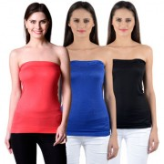 NumBrave Womens Red Blue Black Tube Top (Combo of 3)