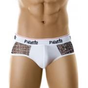 Pikante Underwear Snake Skin Piping Brief White 8902 USA1