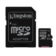 Kingston Digital 64GB microSDXC Clase 10 UHS-I de 45 MB / s de lectura de tarjeta con adaptador SD (SDC10G2 / 64GB)