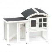 @Pet Rabbit Hutch Piazza White and Black 130x62x90.5 cm 20085