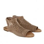 Nina Originals gehaakte schoenen met sleehak of platte hak, 37 - natuur - platte hak