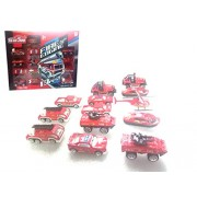 Jilani Fire Rescue Car 13pcs 1:64 Alloy Diecast Vehicle Diecast Free Wheeling Fire Truck Toy Emergency Vehicles Models Collection Kids Toy, Fire Truck Helicopter Jeep Ambulance Car