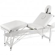 vidaXL Алуминиева масажна кушетка с 4 зони, цвят: кремаво-бял