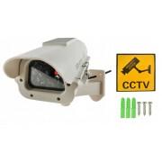 Camera Falsa de Supraveghere cu LED IR Rosu Inclus, Incarcare Solara sau Alimentare pe Baterii