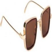 Devew Retro Square Sunglasses(Brown, Golden)