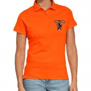 Bellatio Decorations Oranje supporter poloshirt Holland met leeuw oranje voor dames