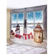Rosegal Tapisserie de Noël Motif de Fenêtre Bonhomme de Neige Largeur 79 x Longueur 59 pouces
