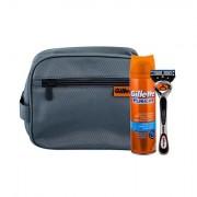 Gillette Fusion Proglide 1 ks sada holicí strojek s jednou hlavicí 1 ks + gel na holení Hydrating 200 ml + kosmetická taška pro muže