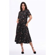 Closet London Black Multi Print Pleated Dress