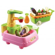 Kongsuni Series Veggie Wash Vegetable Playset Cooking Kitchen Play Set for Kids Early Age Development Educational Roleplay Food Assortment Set Chef playset