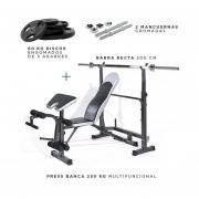 Press Banca 250 Kg Multifuncional + Barra Recta + 2 Mancuernas + 60 kg en Discos 3 agarres