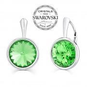 Silvego SILVEGO stříbrné náušnice se Swarovski(R) Crystals zeleným rivoli 12mm - VSW009E
