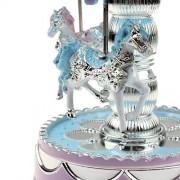 LandFox Toys,Merry-Go-Round Music Box Christmas Birthday Gift Carousel Music Box,Blue