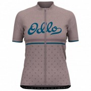 Odlo - Women's Stand-Up Collar S/S Full Zip Element Print - Maillot vélo taille L, gris