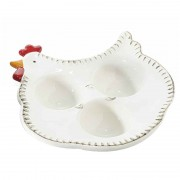 Platou Paste oua model ceramica alba Gaina cm 15 cm x 16 cm