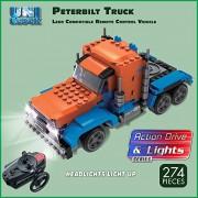 Lego Compatibe Remote Control Peterbilt Truck with headlights that light up, 274 pc, UNIBlock, RC Brick Set