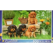 Four Cavalier King Charles Spaniel Puppies Sitting In A Garden Puzzlebug 500 Piece Jigsaw Puzzle