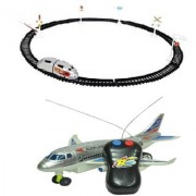 New Pinch combo of Remote plane (running not flying) with Train Round Track Train (180cm ) (Multicolor)