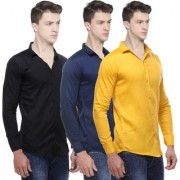 Black Bee Solid Cotton Poly-Cotton Shirts for Men Pack of 3