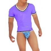 Icker Sea Contrast Trim V Neck Short Sleeved T Shirt Purple/Black CA-16-17