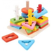 Emob Wooden Blocks Geometric Shape Matching Four Sets of Column Learning Education Puzzle Game Toy for Kids (Multicolor