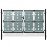 vidaXL Poartă dublă neagră pentru gard 300 x 250 cm