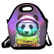 Space Panda Astronaut Lunch Bag Tote Handbag Lunchbox Food Container Tote Cooler Warm Pouch for School Work Office