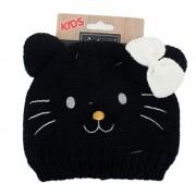 Merkloos Zwart kinder/peuter muts poes/kat met oortjes