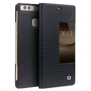 Huawei P9 Plus Qialino Smart View Flip Cover - Grid Texture - Zwart