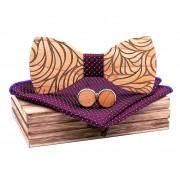 Dřevěný motýlek s kapesníčkem a manžetovými knoflíčky Gaira 709206