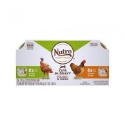 Nutro Perfect Portions Grain-Free Multi-Pack Real Turkey & Real Chicken Cuts in Gravy Recipe Cat Food Trays, 2.65-oz, case of 12 twin-packs