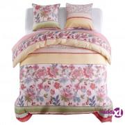 vidaXL Trodijelni set posteljine cvjetni/prugasti 240 x 220 / 80 x 80 cm ružičasti